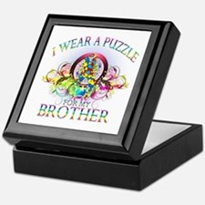 I Wear A Puzzle for my Brother (floral) Keepsake B