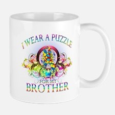 I Wear A Puzzle for my Brother (floral) Mug