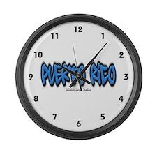 Puerto Rico Graffiti Large Wall Clock