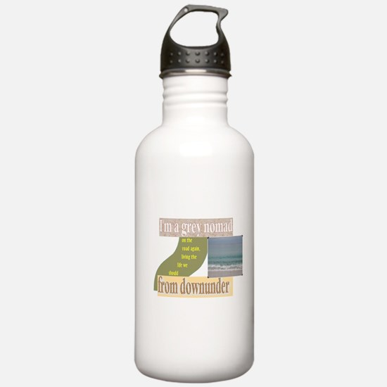 grey nomad on the road again Water Bottle