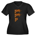 Two and a Half Tigers Women's Plus Size V-Neck Dar
