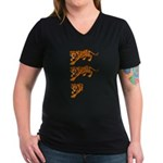 Two and a Half Tigers Women's V-Neck Dark T-Shirt