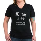 Pi Womens V-Neck T-shirts (Dark)