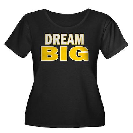 DREAM BIG Women's Plus Size Scoop Neck Dark T-Shir