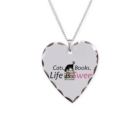 Cat on Books Necklace Heart Charm