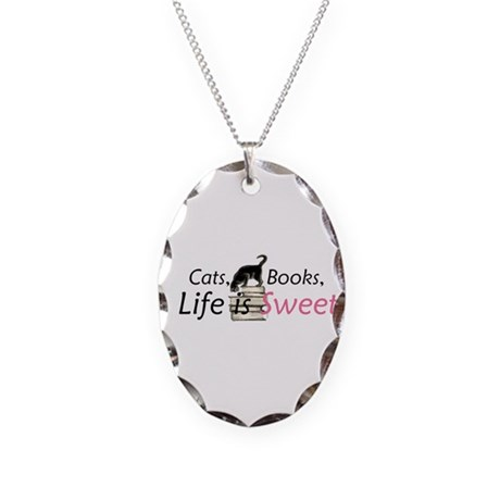 Cat on Books Necklace Oval Charm