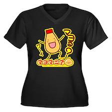 Mayota Women's Plus Size V-Neck Dark T-Shirt