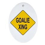 Goalie Xing Oval Ornament