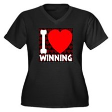 I Love Winning Women's Plus Size V-Neck Dark T-Shi