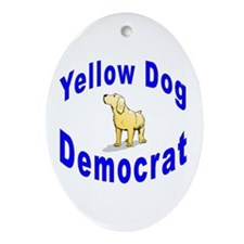 Yellow Dog Democrat Oval Ornament