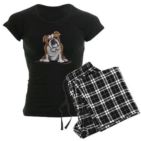 Brown White Bulldog Women's Dark Pajamas