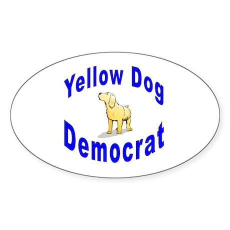 Yellow Dog Democrat Oval Sticker