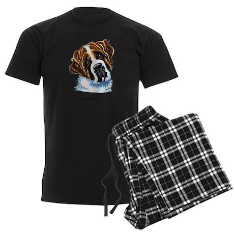 Saint Bernard Portrait Men's Dark Pajamas