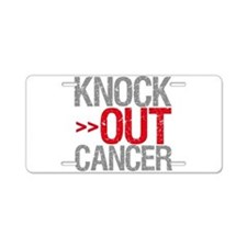 Knock Out Cancer Aluminum License Plate