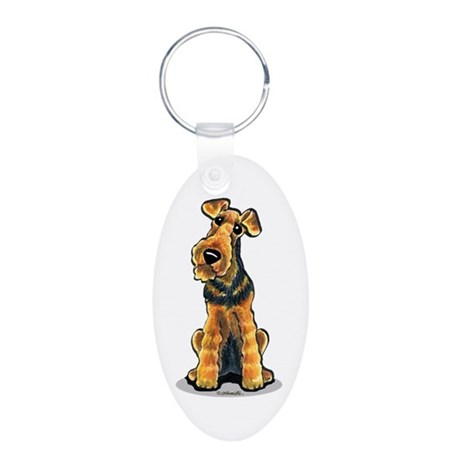 Airedale Welsh Terrier Aluminum Oval Keychain