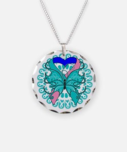 Thyroid Cancer Butterfly Necklace Circle Charm