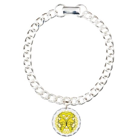 Yellow Butterfly Ribbon Charm Bracelet, One Charm