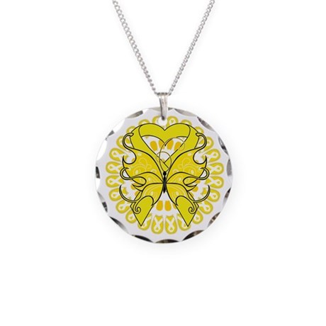 Yellow Butterfly Ribbon Necklace Circle Charm