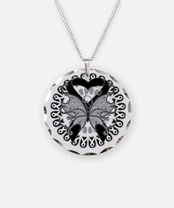 Black Butterfly Ribbon Necklace Circle Charm