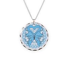 Light Blue Butterfly Ribbon Necklace