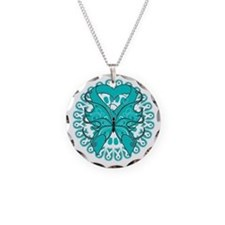 Teal Butterfly Ribbon Necklace