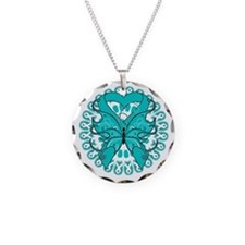 Teal Butterfly Ribbon Necklace Circle Charm