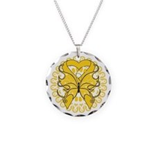 Gold Butterfly Ribbon Necklace