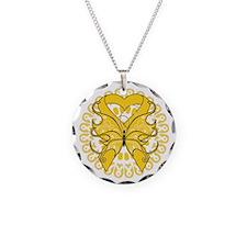 Gold Butterfly Ribbon Necklace