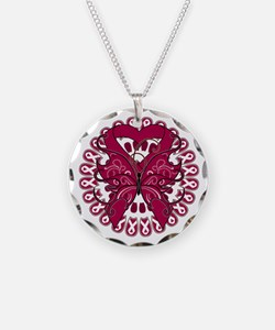 Burgundy Butterfly Ribbon Necklace