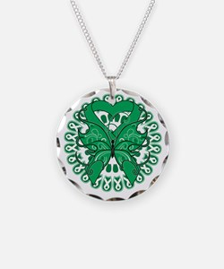 Emerald Green Butterfly Necklace Circle Charm