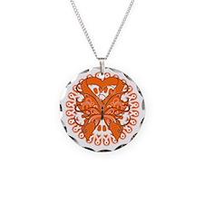 Orange Butterfly Ribbon Necklace