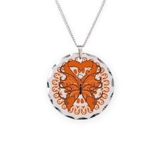 Orange Butterfly Ribbon Necklace Circle Charm