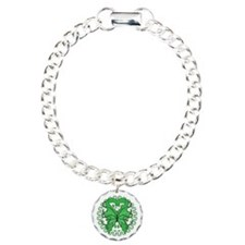 Green Butterfly Ribbon Charm Bracelet, One Charm