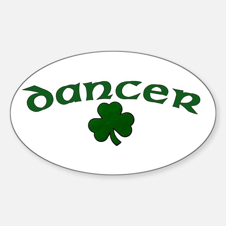 Irish Dancer Shamrock Oval Decal
