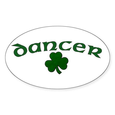 Irish Dancer Shamrock Oval Sticker