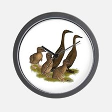 Chocolate Runner Duck Family Wall Clock