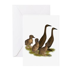 Chocolate Runner Duck Family Greeting Cards (Pk of