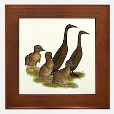 Chocolate Runner Duck Family Framed Tile