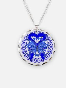 Blue Butterfly Ribbon Necklace