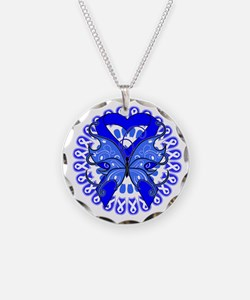 Blue Butterfly Ribbon Necklace Circle Charm