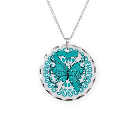 Cervical Cancer Butterfly Necklace Circle Charm