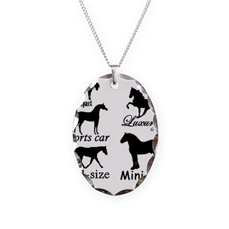 Horse Cars Necklace Oval Charm