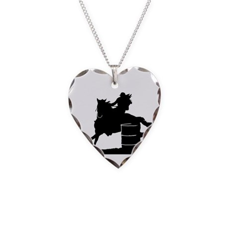 barrel racing silhouette Necklace Heart Charm
