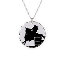 barrel racing silhouette Necklace Circle Charm