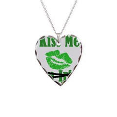 Kiss Me Necklace Heart Charm