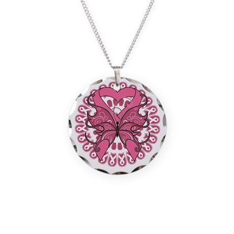 Breast Cancer Butterfly Necklace Circle Charm