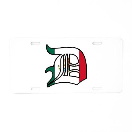 Mexican Old English D (Detroi Aluminum License Pla