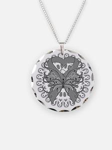 Gray Butterfly Ribbon Necklace