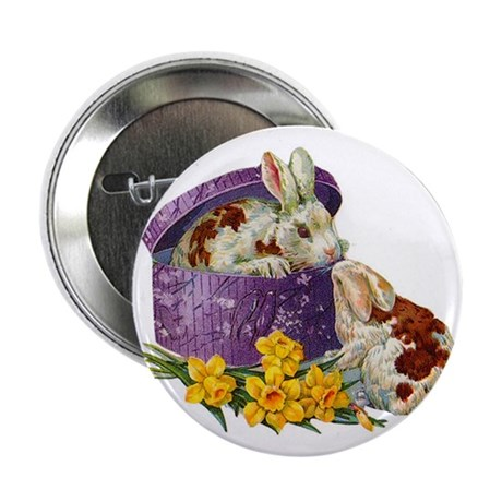 Vintage Easter Bunnies Button