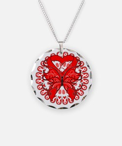 Red Butterfly Ribbon Necklace